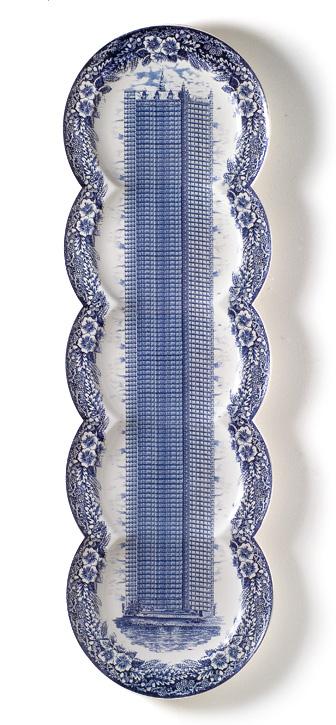 Maxime Ansiau delftsblauwe bord lang