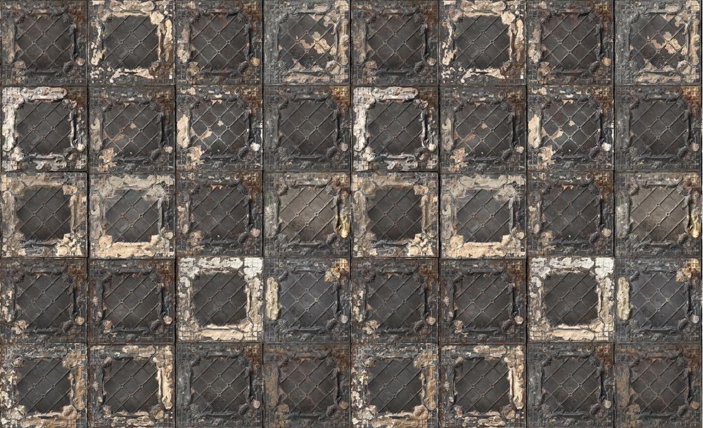 Behang oude tegels zwart