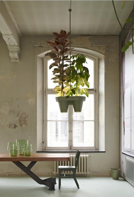 zegt? Een hangplantlamp, een lamp waar je een plant in kunt hangen ...