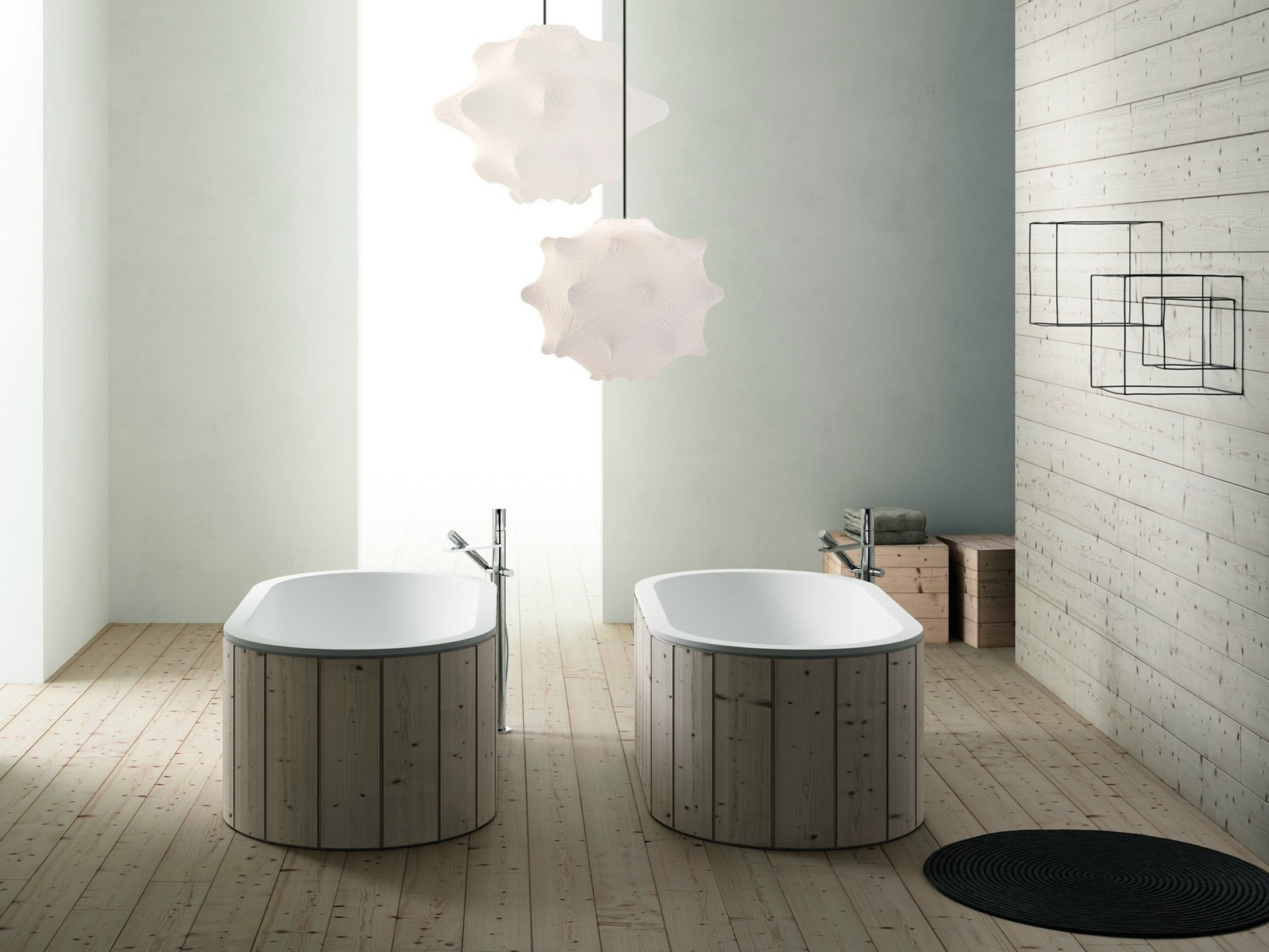 sanitair en badkamermeubels van keramiek en hout inspiraties