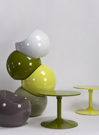 Ball chair groen en grijs