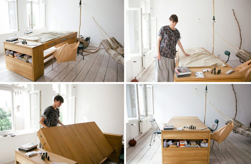 Slaapkamer Inspiratie Kleine Kamer : een bed en bureau in een kleine ...