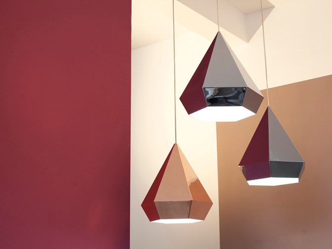 Diamonds lamp drie stuks in interieur apart