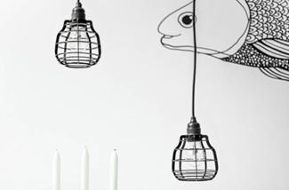 Hanglampen in het zwart