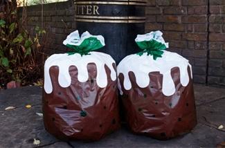 Kerst pudding afvalzakken