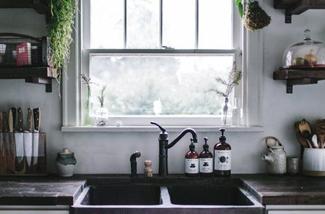 keuken met een uitzicht