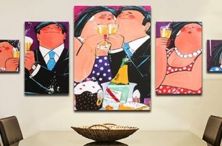 Vrolijke kleurrijke schilderijen voor in huis