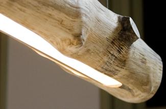 Lamp van een boomstam
