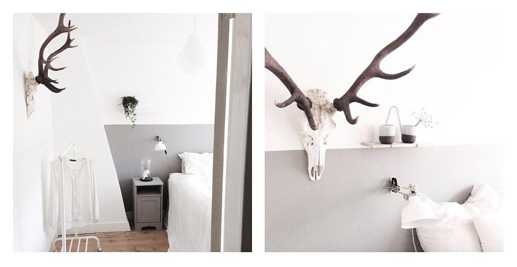 Restyling nieuwe lambrisering in de slaapkamer inspiraties - Behang hoofdbord ...