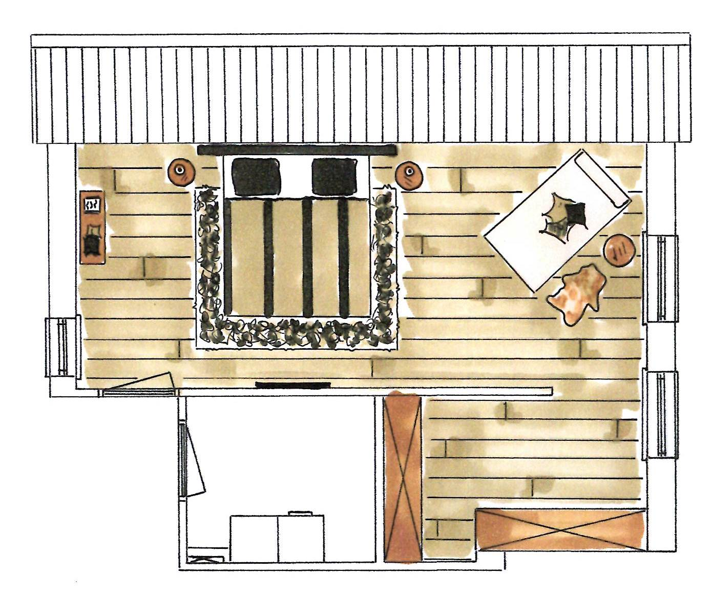 Interieurplan en verlichtingsplan interieurstylist - Plan ouderslaapkamer met badkamer en kleedkamer ...