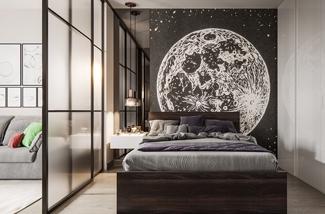 Slaapkamer met een glazen wand
