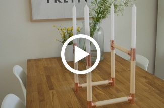 DIY kandelaar van koper en hout