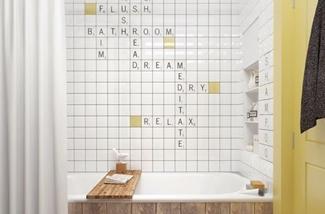 Wanddecoratie in de badkamer